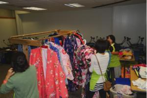 Ladies purchasing kimono