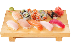 Assorted Sushi plater with California roll